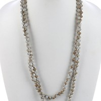 Zoey Natural Stone Extra Long Bead Necklace