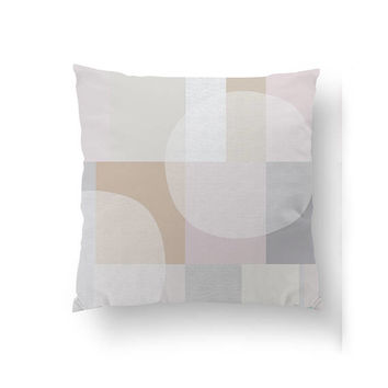 Pink Pastel Pillow, Subdued Colors, Home Decor, Cushion Cover, Simple Decor, Geometric Art, Throw Pillow, Decorative Pillow, Abstract Shapes