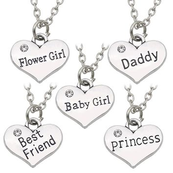 Daddy Best Friends Princess Baby Girl Flower Girl Charm Pendant Necklaces Love Heart Rhinestone Choker Necklace For Women Colar