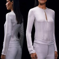 Cushnie et Ochs silk georgette top with pearls rosewater white