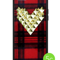 Tartan Gold Studded Heart iPhone 5c Case