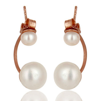 18K Rose Gold Plated Sterling Silver Natural Pearl Designer Post Stud Earrings