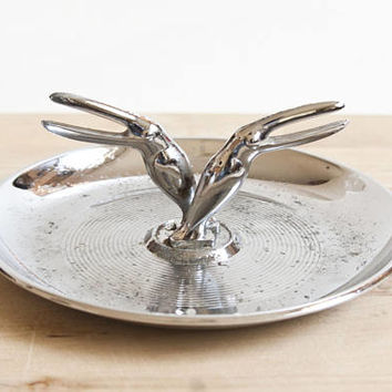 Vintage Art Deco Pincherette Ashtray Cigarette Holder, Toucan Bird Chrome Ashtray Jewelry Ring Dish Earring Trinket Tray