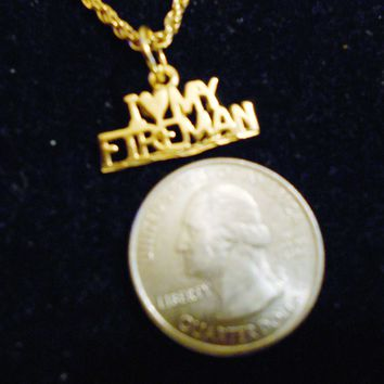 bling 14kt yellow gold plated I HEART MY FIREMAN saying pendant charm 24 inch rope chain hip hop trendy fashion necklace jewelry special