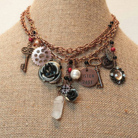 Steampunk choker, vintage charm necklace, skeleton key gears and cogs,  pearl, jewel, flowers,  beads, crystal quartz