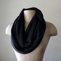 BLACK Sweater Scarf - Ribbed Knit Infinity Scarf - Jet Black Circle Scarf - Loop Scarf, Eternity Scarf, Winter Scarf