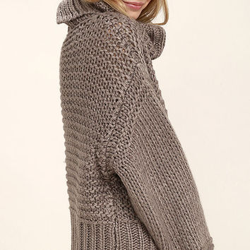 Heart-to-Heart Dark Taupe Crop Sweater