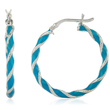 925 Sterling Silver Spiral Rigid 1.25 Inch Blue Enamel Hoop Earrings