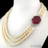 3 Strand Pearl Necklace with Ruby Gemstone Clasp in 925 Silver with American Diamonds