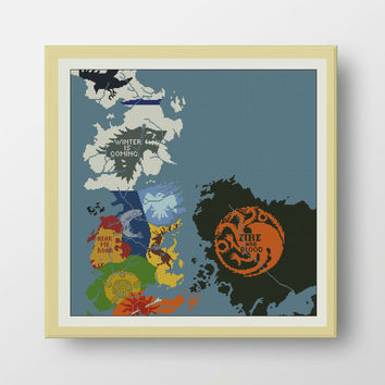 BOGO FREE! Map of Westeros, Game of Thrones Cross Stitch Pattern, Cross Stitch Chart, Needlecraft Embroidery  PDF Instant Download,S054