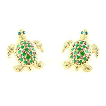 Sea Turtle Stud Earrings Green Enamel Crystal Posts EI03 Fashion Jewelry