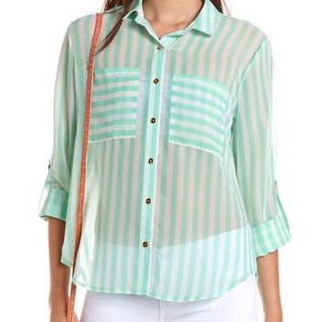 Vertical Stripe Hi-Low Blouse: Charlotte Russe