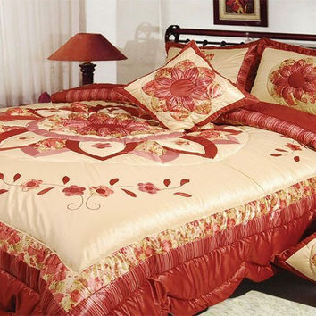 DaDa Bedding Sunset Flowers Quilt Patchwork Comforter Set, Creme Red, King, Queen, Twin, 3-5 Pieces (BM465L)