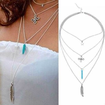 Women's Stylish Retro Multilayers Chinese Knot Star gem Feather Pendant Choker Necklace Jewelry Gift