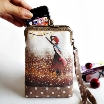 Wristlet cell phone case, Dyed fabric, Double pockets, Eyeglasses case, iPhone 6 plus, Galaxy note