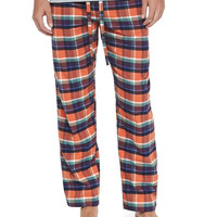 Plaid Two-Piece Pajama Set, Orange, Size: