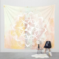 White mandala no.2 Wall Tapestry by Quickpoet