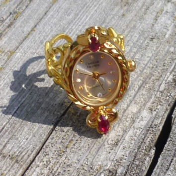 Brass Watch Ring Garnet Stones Pearl White Dial Adjustable Filigree Ring