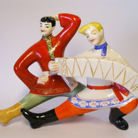 "Soviet porcelain figurine ""Dancers"" 1960's (Polonne porcelain factory, USSR) Wedding in the village/ Gopak"