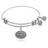 Expandable Bangle in White Tone Brass with Eye Of The Horus Protection Symbol