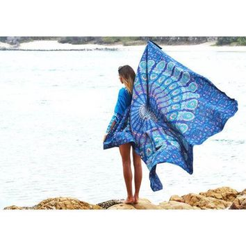 ONETOW 2016 Indian Mandala Tapestry Hippie Peacock Printed Wall Hanging Rectangle Boho Bohemian Beach Towel Mat Home Decor