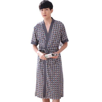 New Arrival Pajamas Classic  Polka Dot Bathrobe Summer Spring Men 100% Cotton Bathrobes Robe For Man 5935