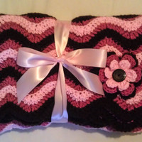 Flower Baby Gift Set (Blanket & Hat) Two tone Pink and Brown (MADE TO ORDER)