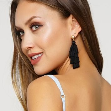High Fringe Earrings - Black