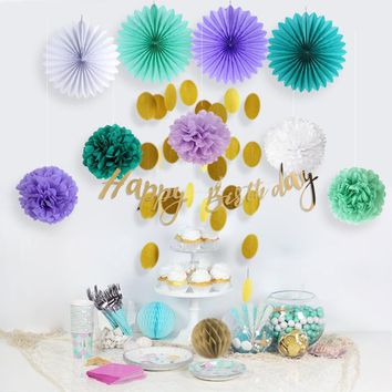 Let's be Mermaid Party Decoration Set Happy Birthday Banner Circle Garland Tissue Fans Pom Poms Honeycomb Balls Birthday Girls