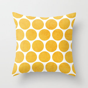 yellow polka dots Throw Pillow by her art