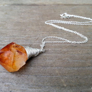 Boho Raw Citrine Pendant Necklace, Silver Wire Wrapped Gemstone, Amber Yellow Crystal Point Hippie Bohemian Necklace, Sterling Silver Chain