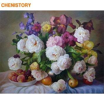 CHENISTORY Diy Flower Oil Painting By Numbers Room Decor Oil Canvas Living Handpainted Paintings Wall Art Flower Arrangement