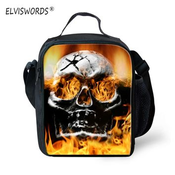 ELVISWORDS Skull Lunch Bag Picnic Box Food Cooler Personalized Lunchboxes Bolsa for Women Men Messenger Shoulder Bags Lancheira
