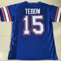 Tim Tebow Gators Jersey, Florida Gators #15 Tim Tebow College Football Jersey, Men's 100% Stitched Blue White Jerseys S-3XL