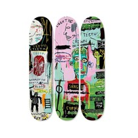 Three Deck Skateboard Set Piece by Jean-Michel Basquiat