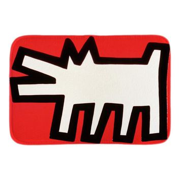 Autumn Fall welcome door mat doormat Funny  With Keith Haring Art Dog  Entrance Floor Indoor Soft Front Door Bathroom Mats Short Plush Fabric Mats AT_76_7