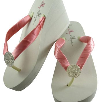 62331028a2aa Ivory Wedge Designer Bling Bridal Flip from BridalFlipFlops on