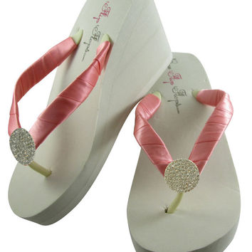 Wedding flip flops, bridal flip flops, Coral satin & round jewel flip flops for the Bride, bridesmaids, flower girl, Ivory white