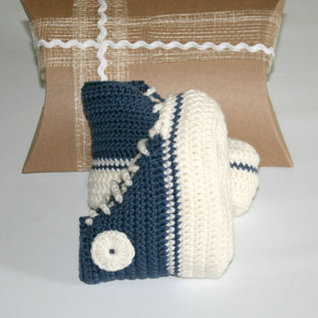 Pure merino wool baby crochet high top winter boots shoes booties from 3 up to 12 months deep blue cream etsy online Gift box included