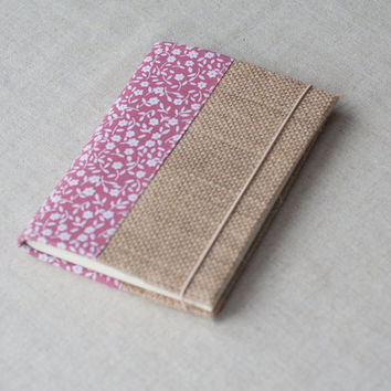 Fabric notebook cover, eco friendly, burlap cover, notebook case, refillable notebook cover A6 - floral pink
