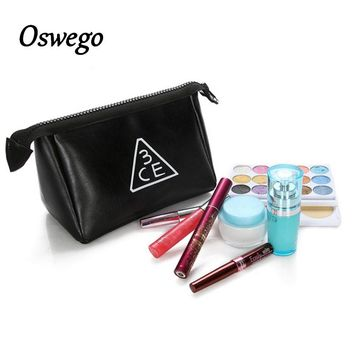 Fashion Black Triangle 3CE Letter PU Leather Toiletries Bag Zipper Storage Pouch Portable Women Travel Cosmetic Bag Girl Clutch