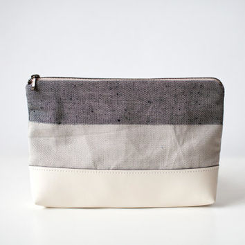 100% Linen + Vegan Leather Pouch No. VL-101