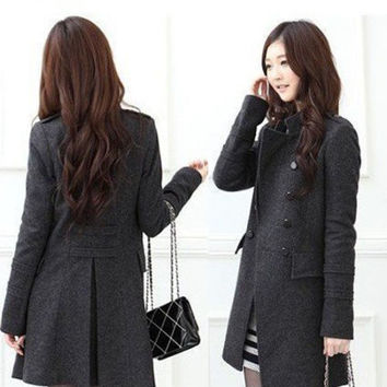 Fashion Korean Version Double-breasted Wool Coat Thin Windbreaker Jacket Dress