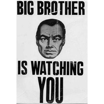 Big Brother Watching poster Metal Sign Wall Art 8in x 12in Black and White