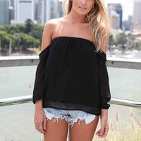 Chiffon Top Sleeves Off the Shoulder Shirt