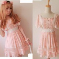 Kawaii Trendy Princess Cute Sweet Dolly Gothic Punk Lolita Slim Dress Pink Sz L