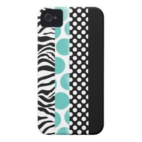 Funky Black and Blue Patterns Case-Mate iPhone 4 Case