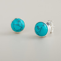 Round Turquoise Stud Earrings - World Market
