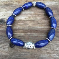 Natural Lapis  Stretch bracelet UNISEX Yoga Stretch Bracelet Bold Lapis Bracelet  Lapis and Silver boho jewelry by Lyrisgems