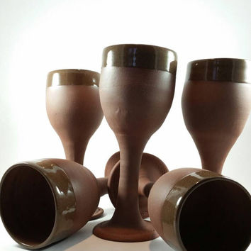 Handcrafted ceramic pottery wine goblet - unglazed clay pottery ceramic handmade cup for drinking red wine.